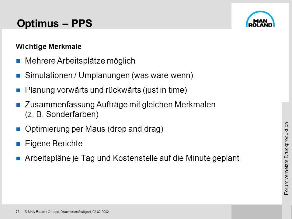 Forum vernetzte Druckproduktion 72© MAN Roland Gruppe, Druckforum Stuttgart, 02.02.2002 Optimus – PPS Produktion nutzt verfügbare Produktionskapazität