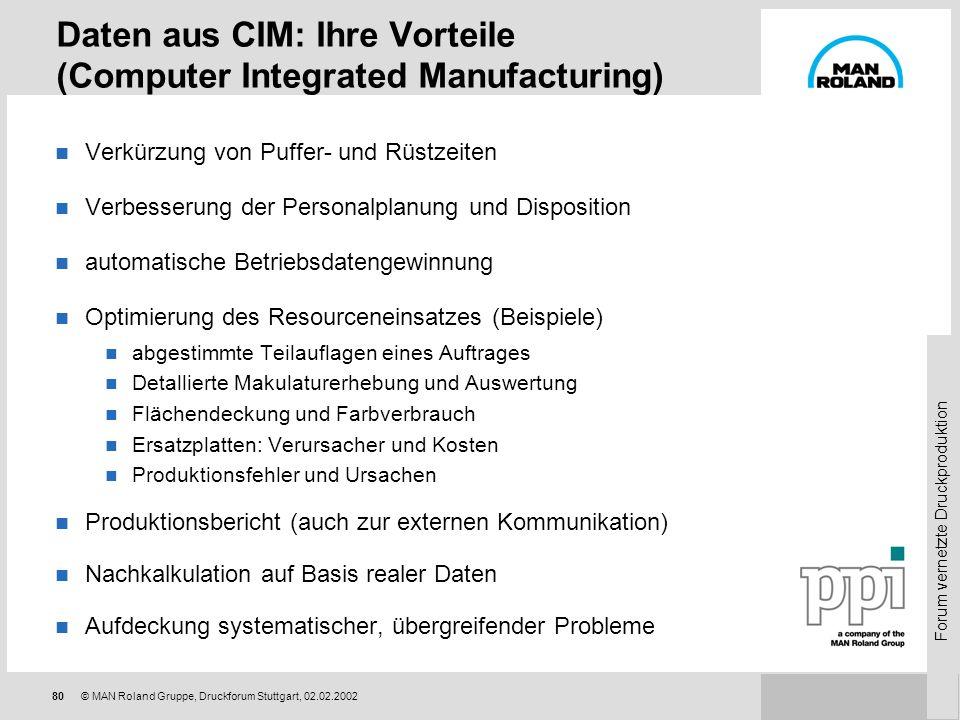 Forum vernetzte Druckproduktion 79© MAN Roland Gruppe, Druckforum Stuttgart, 02.02.2002 Tracking, BDE und Statistik Produktion Analyse Abfragen Report