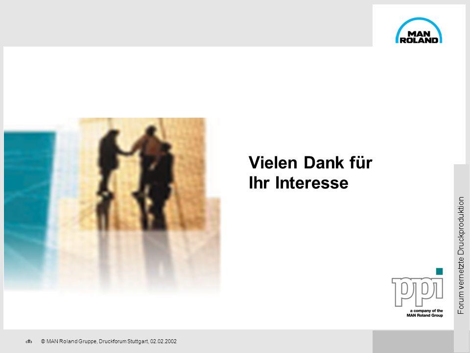 Forum vernetzte Druckproduktion 80© MAN Roland Gruppe, Druckforum Stuttgart, 02.02.2002 Daten aus CIM: Ihre Vorteile (Computer Integrated Manufacturin