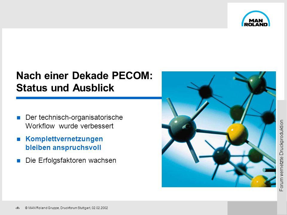 Forum vernetzte Druckproduktion 85© MAN Roland Gruppe, Druckforum Stuttgart, 02.02.2002 Erfolgsgeschichte PECOM Optimierung des technischen Workflows