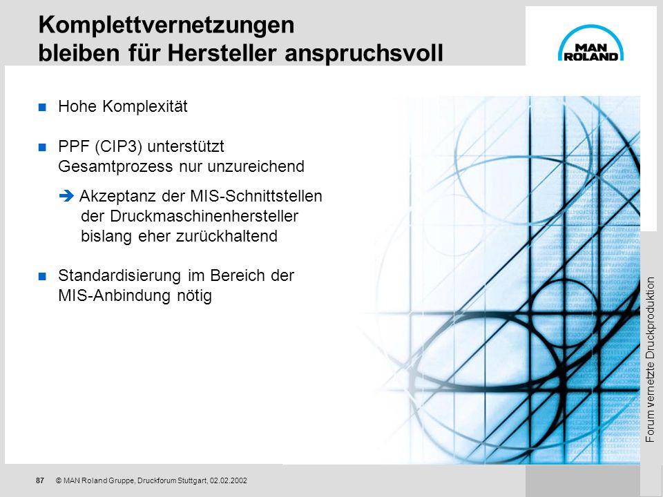 Forum vernetzte Druckproduktion 86 © MAN Roland Gruppe, Druckforum Stuttgart, 02.02.2002 Nach einer Dekade PECOM: Status und Ausblick Der technisch-or