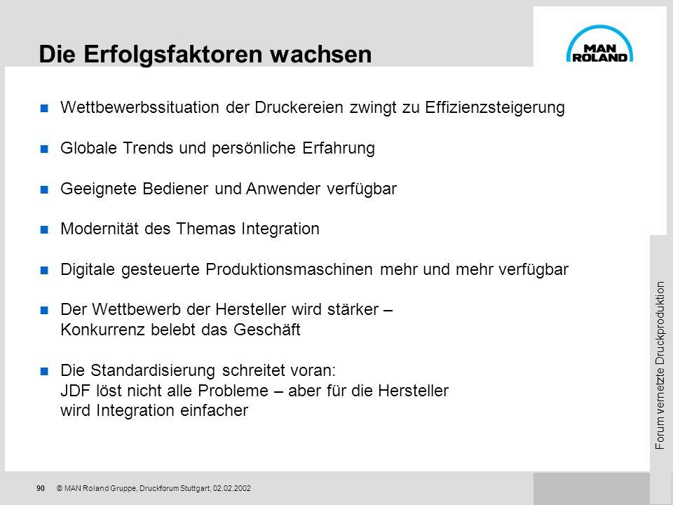 Forum vernetzte Druckproduktion 89 © MAN Roland Gruppe, Druckforum Stuttgart, 02.02.2002 Nach einer Dekade PECOM: Status und Ausblick Der technisch-or