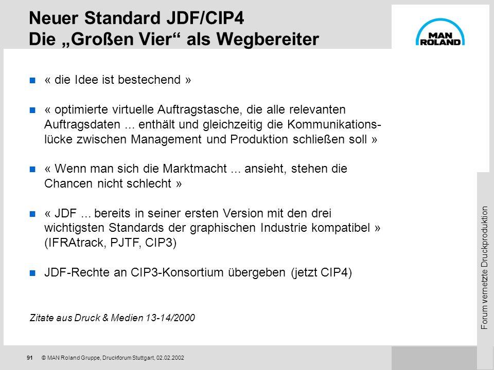 Forum vernetzte Druckproduktion 90© MAN Roland Gruppe, Druckforum Stuttgart, 02.02.2002 Wettbewerbssituation der Druckereien zwingt zu Effizienzsteige