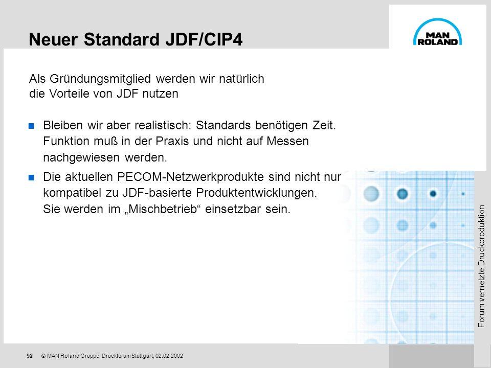 Forum vernetzte Druckproduktion 91© MAN Roland Gruppe, Druckforum Stuttgart, 02.02.2002 Neuer Standard JDF/CIP4 Die Großen Vier als Wegbereiter « die
