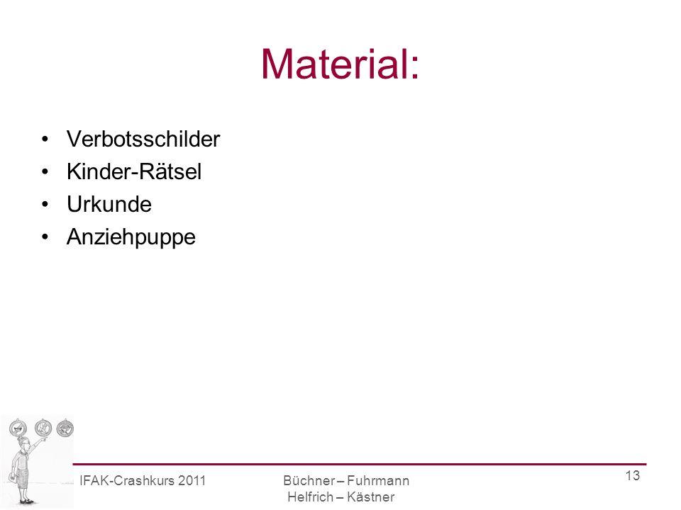 IFAK-Crashkurs 2011 Büchner – Fuhrmann Helfrich – Kästner 13 Material: Verbotsschilder Kinder-Rätsel Urkunde Anziehpuppe