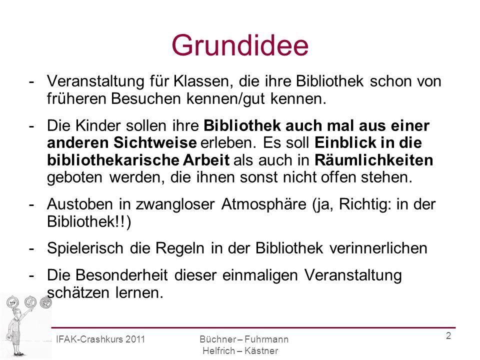 IFAK-Crashkurs 2011 Büchner – Fuhrmann Helfrich – Kästner 2 Grundidee -Veranstaltung für Klassen, die ihre Bibliothek schon von früheren Besuchen kennen/gut kennen.