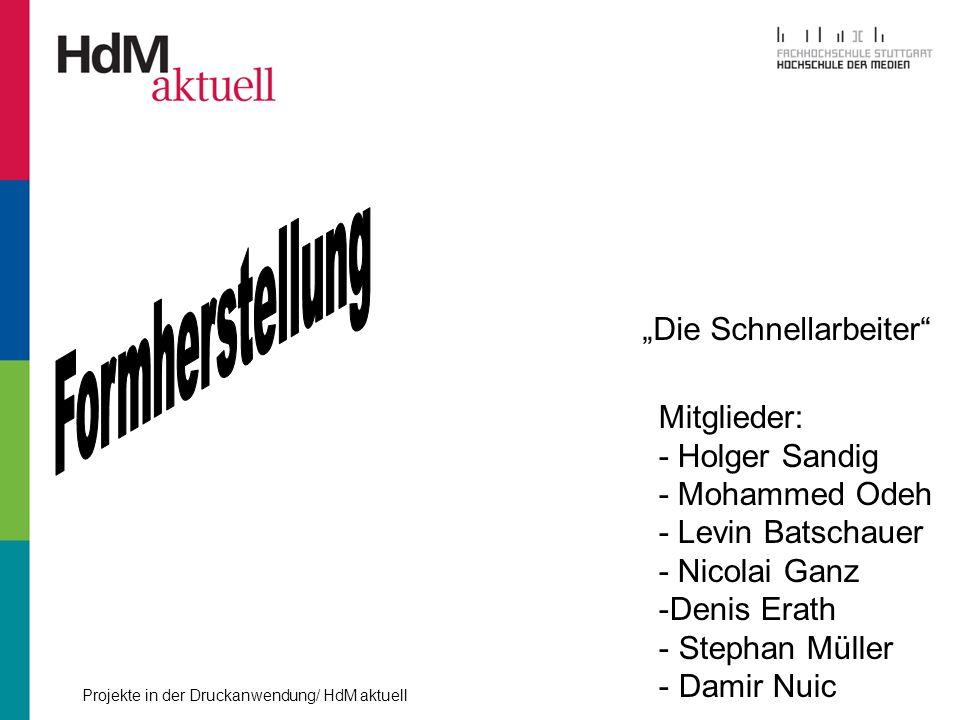 Die Schnellarbeiter Mitglieder: - Holger Sandig - Mohammed Odeh - Levin Batschauer - Nicolai Ganz -Denis Erath - Stephan Müller - Damir Nuic
