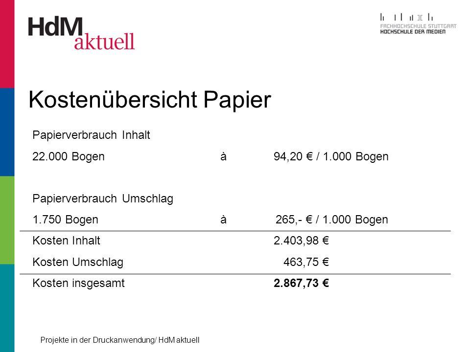 Projekte in der Druckanwendung/ HdM aktuell Kostenübersicht Papier Papierverbrauch Inhalt 22.000 Bogenà 94,20 / 1.000 Bogen Papierverbrauch Umschlag 1