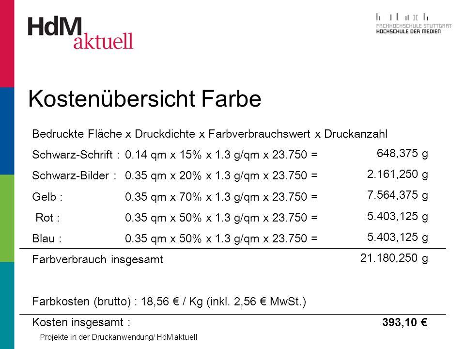 Projekte in der Druckanwendung/ HdM aktuell Kostenübersicht Farbe Bedruckte Fläche x Druckdichte x Farbverbrauchswert x Druckanzahl Schwarz-Schrift :0