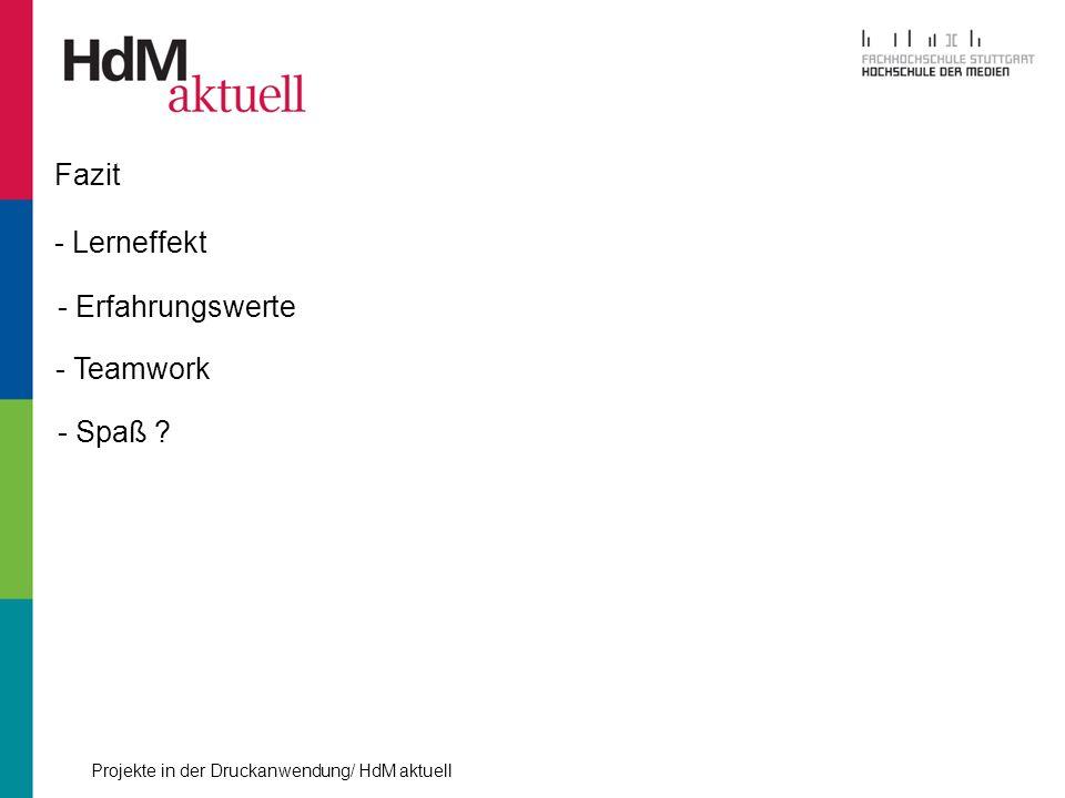 Projekte in der Druckanwendung/ HdM aktuell Fazit - Lerneffekt - Erfahrungswerte - Teamwork - Spaß ?