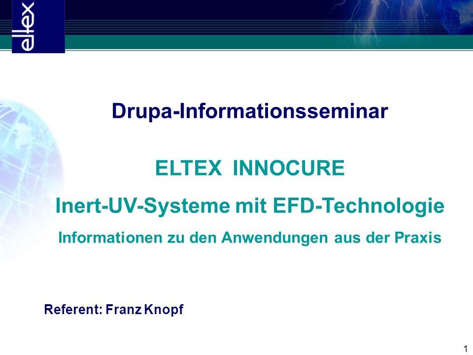1 Drupa-Informationsseminar ELTEX INNOCURE Inert-UV-Systeme mit EFD-Technologie Informationen zu den Anwendungen aus der Praxis Referent: Franz Knopf