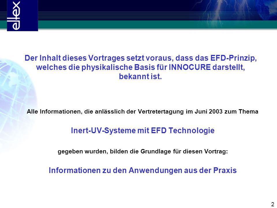 2 Der Inhalt dieses Vortrages setzt voraus, dass das EFD-Prinzip, welches die physikalische Basis für INNOCURE darstellt, bekannt ist. Alle Informatio
