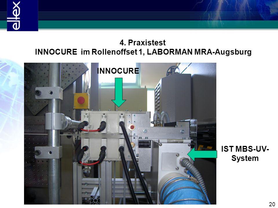 20 4. Praxistest INNOCURE im Rollenoffset 1, LABORMAN MRA-Augsburg INNOCURE IST MBS-UV- System