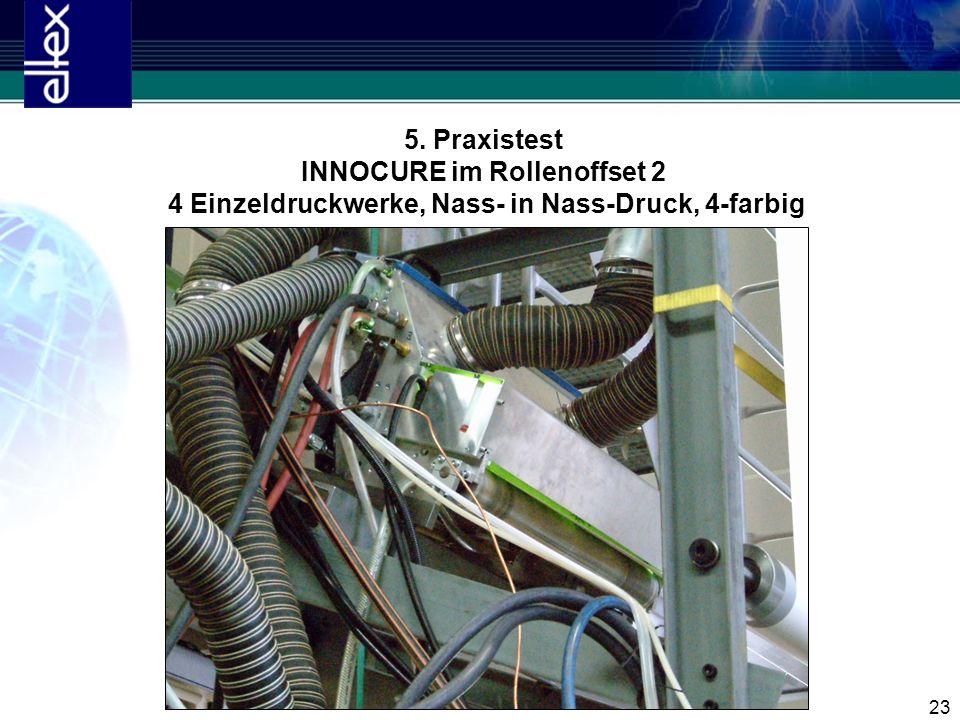 23 5. Praxistest INNOCURE im Rollenoffset 2 4 Einzeldruckwerke, Nass- in Nass-Druck, 4-farbig