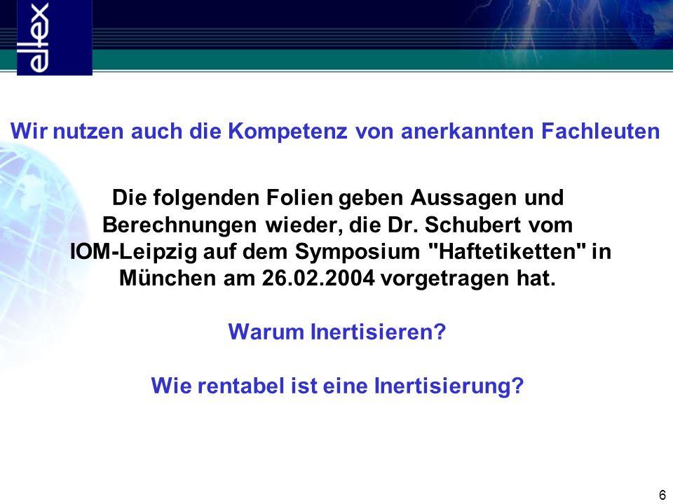 6 Die folgenden Folien geben Aussagen und Berechnungen wieder, die Dr. Schubert vom IOM-Leipzig auf dem Symposium
