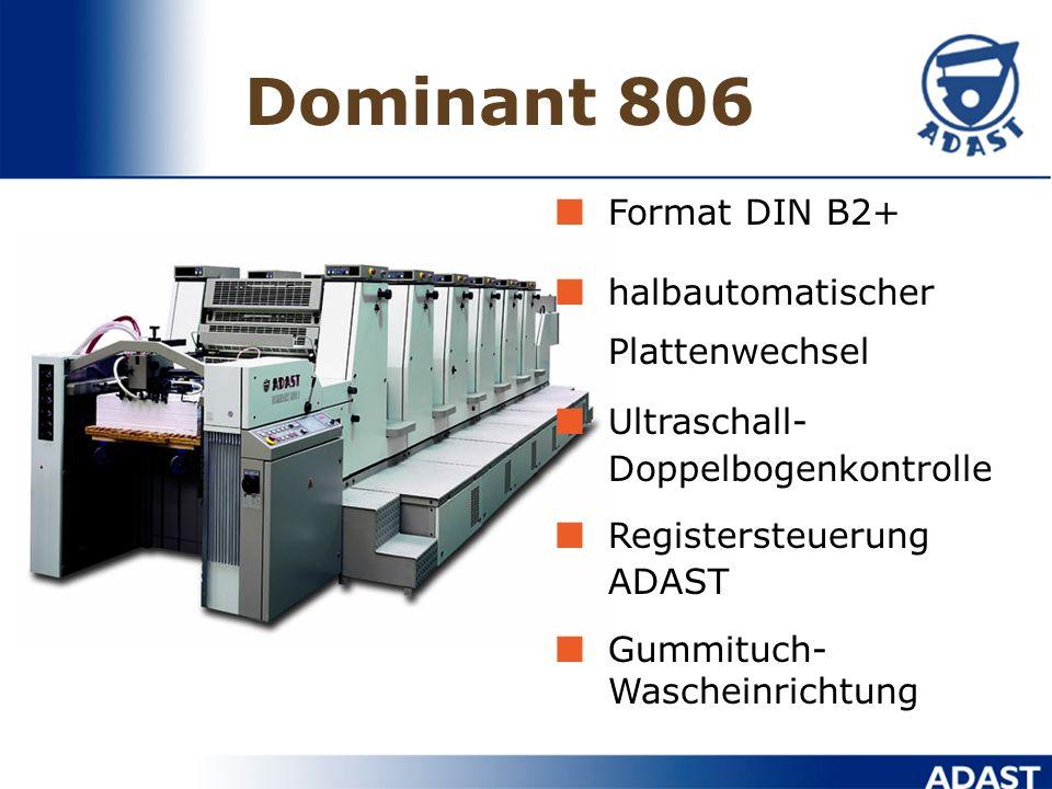 Dominant 705 Fromat DIN A2+ In-line-Lackierwerk Ultraschall- Doppelbogenkontrolle Registerfernsteuerung ADAST IR-Trockner und Lackierwerk-Steuerung üb
