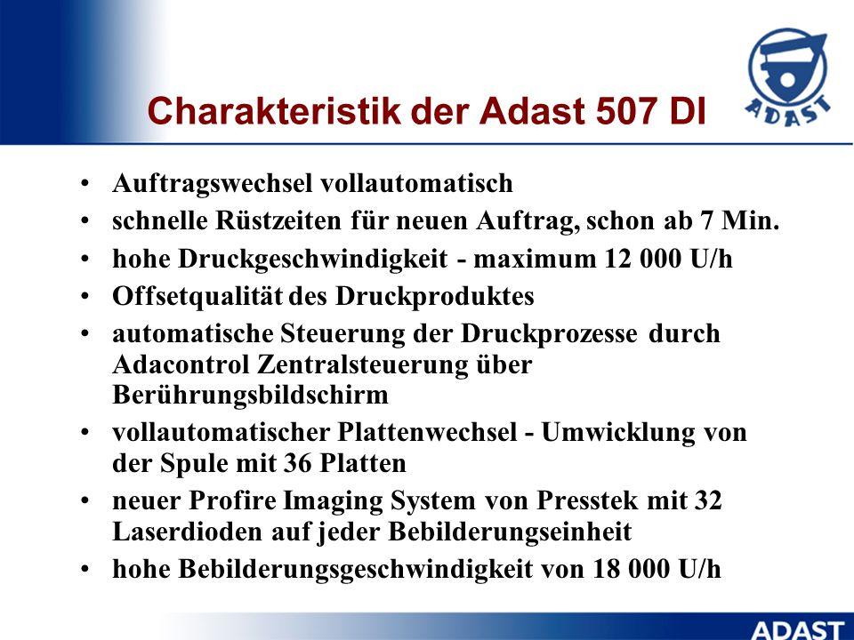 Adast 507 DI und ihre Parameter Max. Bogengrößemm381 x 520 Bedruckstoffgewichtg/m 2 40 - 350 Bedruckstoffdickemm0,4 Hochanlagemm940 Hochauslage mm880