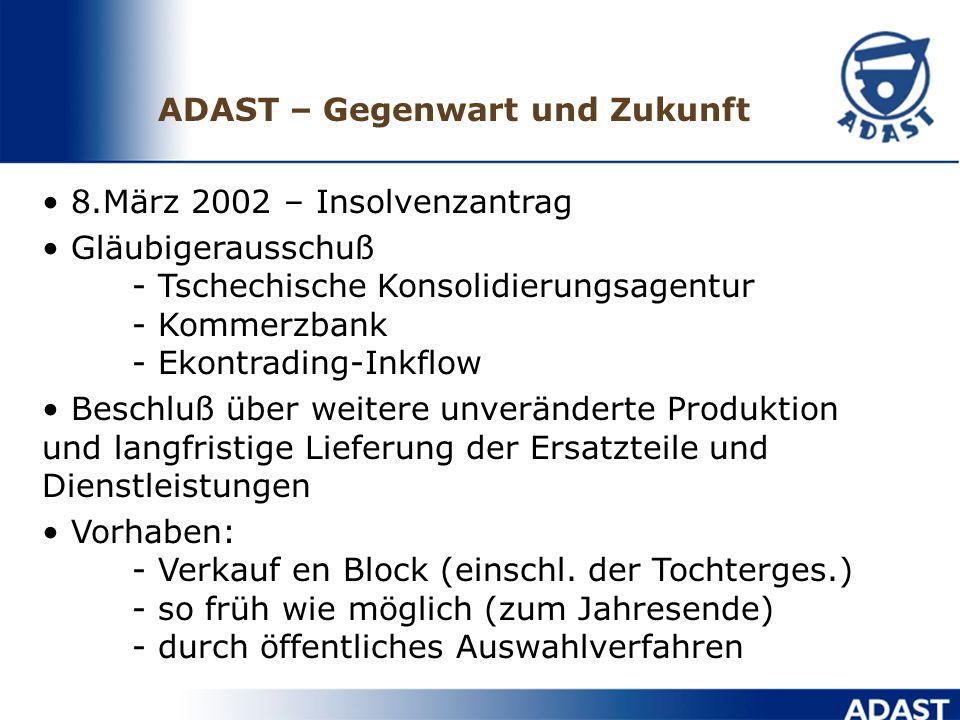 8.März 2002 – Insolvenzantrag Gläubigerausschuß - Tschechische Konsolidierungsagentur - Kommerzbank - Ekontrading-Inkflow Beschluß über weitere unveränderte Produktion und langfristige Lieferung der Ersatzteile und Dienstleistungen Vorhaben: - Verkauf en Block (einschl.