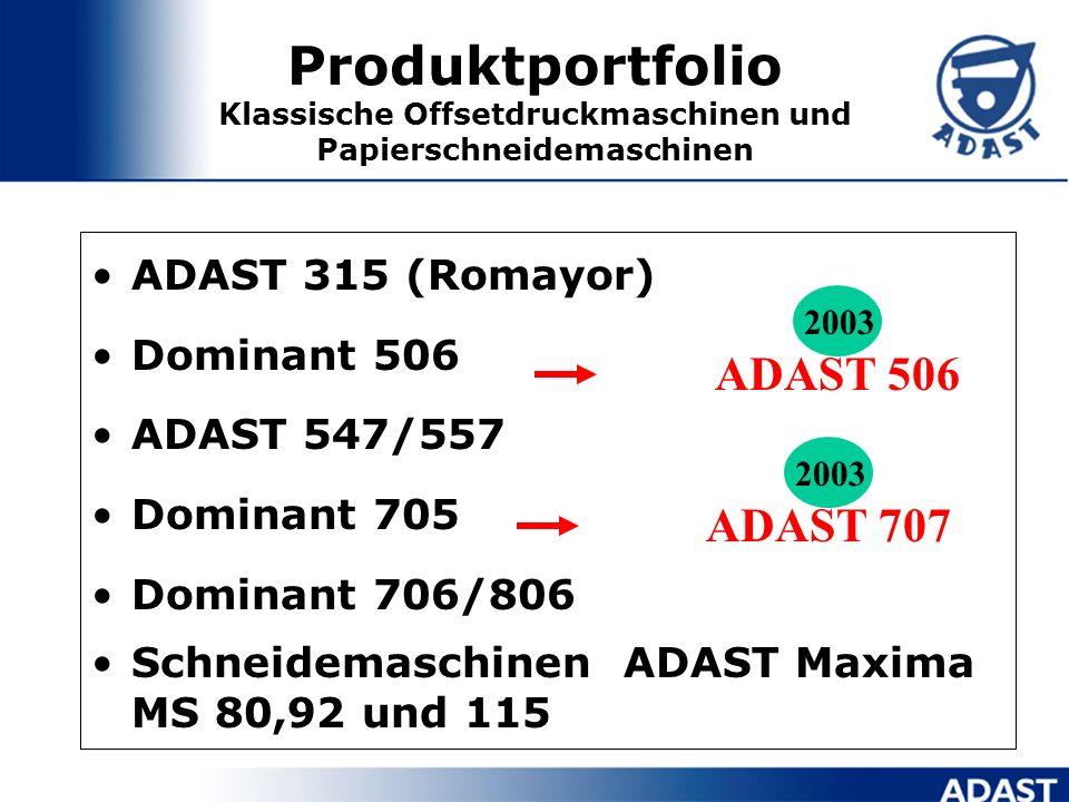 Produktportfolio Klassische Offsetdruckmaschinen und Papierschneidemaschinen ADAST 315 (Romayor) Dominant 506 ADAST 547/557 Dominant 705 Dominant 706/806 Schneidemaschinen ADAST Maxima MS 80,92 und 115 ADAST 707 2003 ADAST 506 2003
