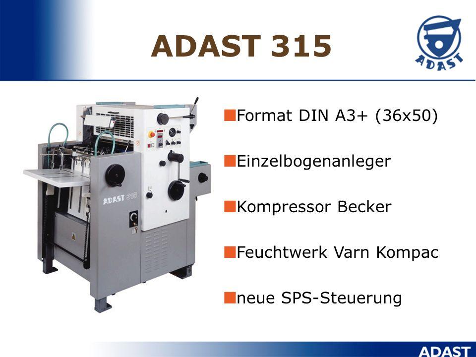 ADAST 315 Format DIN A3+ (36x50) Einzelbogenanleger Kompressor Becker Feuchtwerk Varn Kompac neue SPS-Steuerung