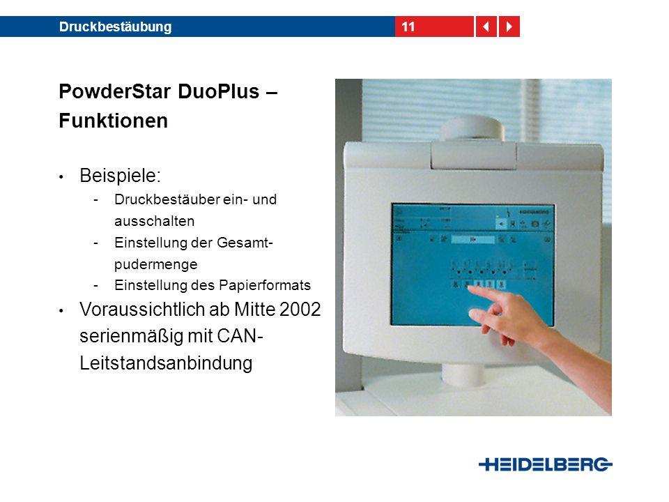 11Druckbestäubung PowderStar DuoPlus – Funktionen Beispiele: -Druckbestäuber ein- und ausschalten -Einstellung der Gesamt- pudermenge -Einstellung des Papierformats Voraussichtlich ab Mitte 2002 serienmäßig mit CAN- Leitstandsanbindung