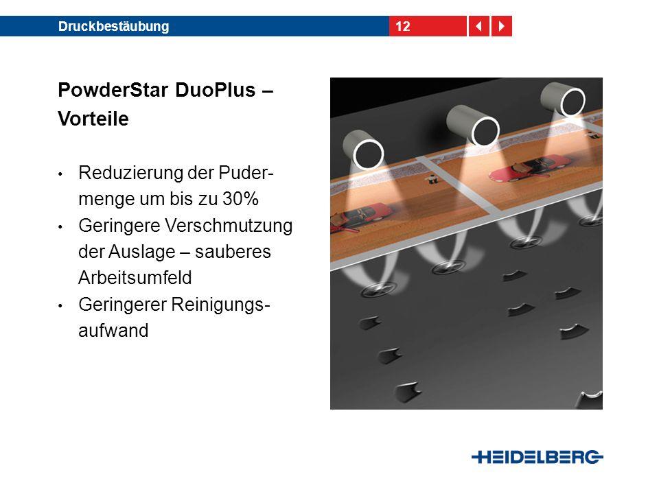 12Druckbestäubung PowderStar DuoPlus – Vorteile Reduzierung der Puder- menge um bis zu 30% Geringere Verschmutzung der Auslage – sauberes Arbeitsumfeld Geringerer Reinigungs- aufwand