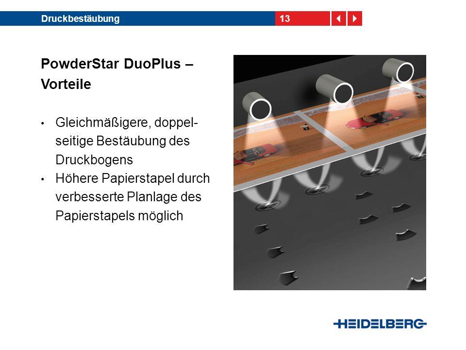 13Druckbestäubung PowderStar DuoPlus – Vorteile Gleichmäßigere, doppel- seitige Bestäubung des Druckbogens Höhere Papierstapel durch verbesserte Planlage des Papierstapels möglich