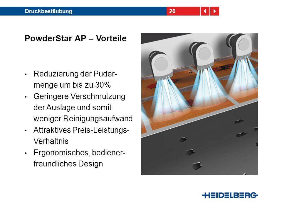 20Druckbestäubung PowderStar AP – Vorteile Reduzierung der Puder- menge um bis zu 30% Geringere Verschmutzung der Auslage und somit weniger Reinigungsaufwand Attraktives Preis-Leistungs- Verhältnis Ergonomisches, bediener- freundliches Design