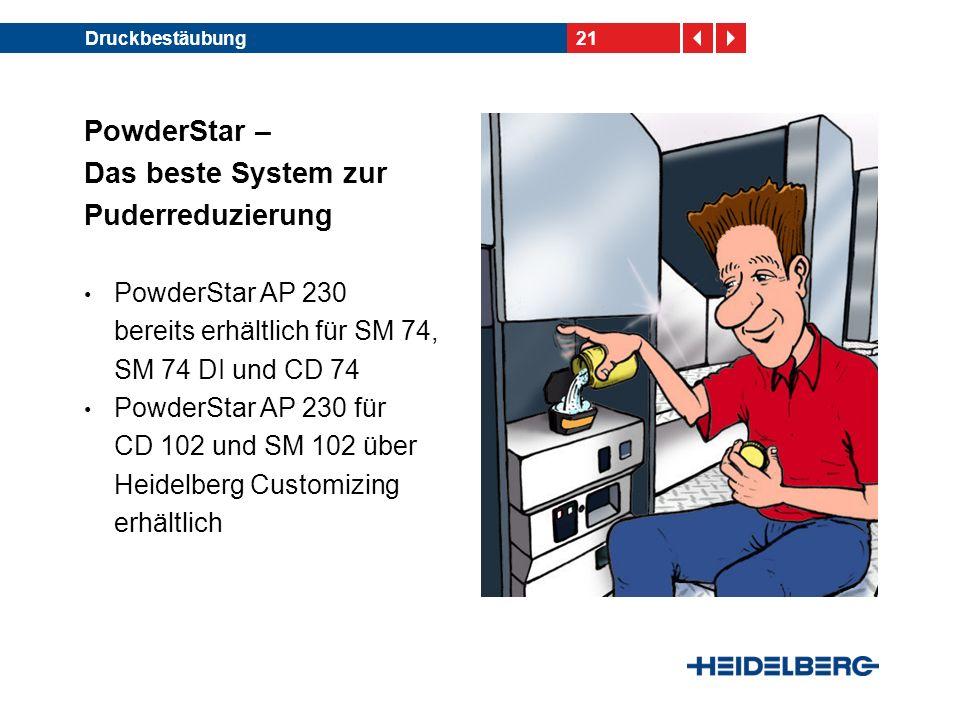 21Druckbestäubung PowderStar – Das beste System zur Puderreduzierung PowderStar AP 230 bereits erhältlich für SM 74, SM 74 DI und CD 74 PowderStar AP 230 für CD 102 und SM 102 über Heidelberg Customizing erhältlich