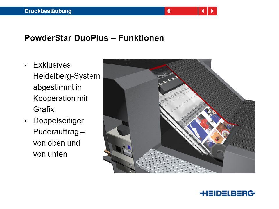 6Druckbestäubung PowderStar DuoPlus – Funktionen Exklusives Heidelberg-System, abgestimmt in Kooperation mit Grafix Doppelseitiger Puderauftrag – von oben und von unten