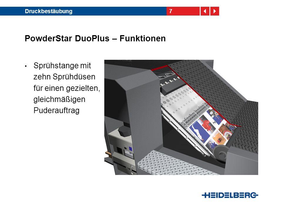 18Druckbestäubung PowderStar AP – Funk- tionen der Sprühstange RS-Sprühstange mit speziellen Puderdüsen Stabilisierung des Puderstrahls durch Ummantelung mit einem Luftstützstrahl (Windhose) RS- Sprühstange Luftstützstrahl Puderstrahl RS-Puder- düse