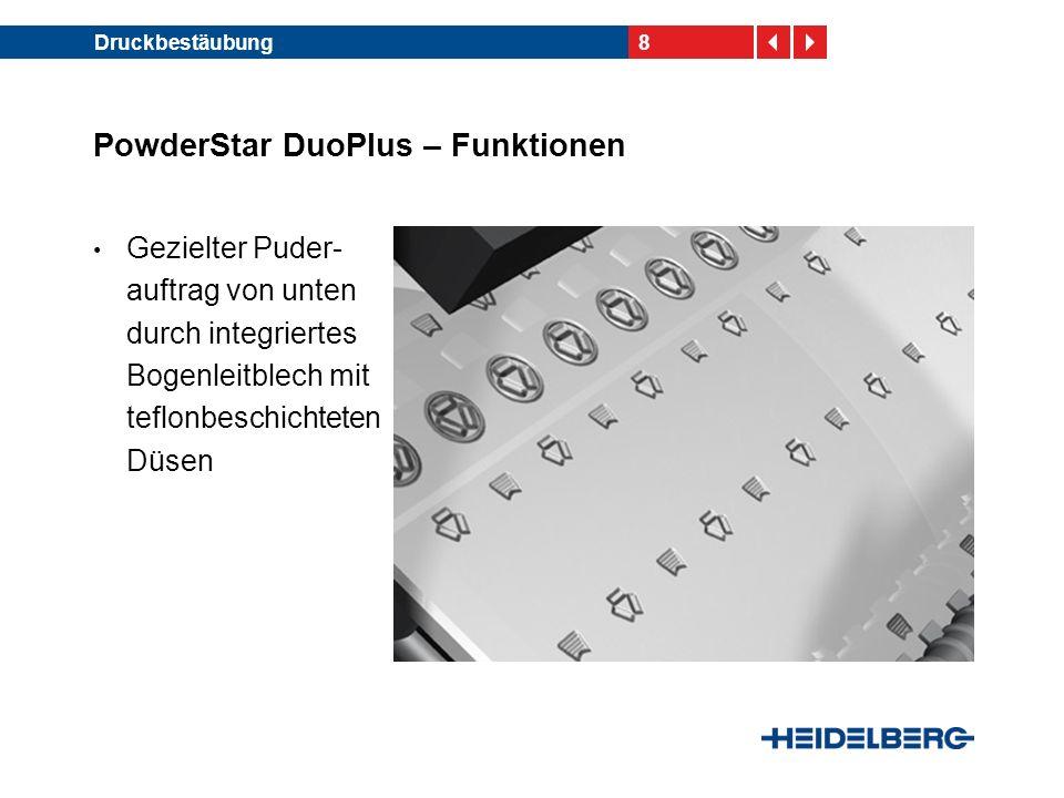 9Druckbestäubung PowderStar DuoPlus – Funktionen Prozentuale Puder- mengeneinstellung oben/unten Puderhaftung auf der bedruckten und der unbedruckten Seite des Druck- bogens