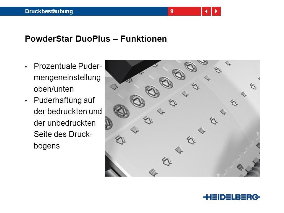 10Druckbestäubung PowderStar DuoPlus – Funktionen Bedienung der wesent- lichen Vorwahlfunktionen über das CP2000 Center