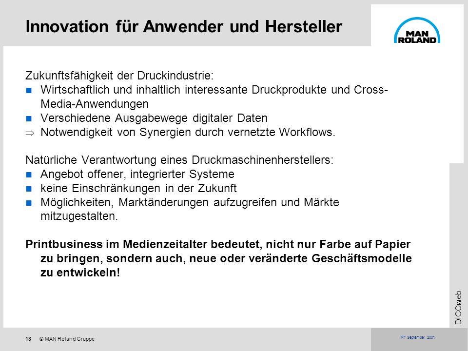 18© MAN Roland Gruppe DICOweb RT September 2001 Innovation für Anwender und Hersteller Zukunftsfähigkeit der Druckindustrie: Wirtschaftlich und inhalt