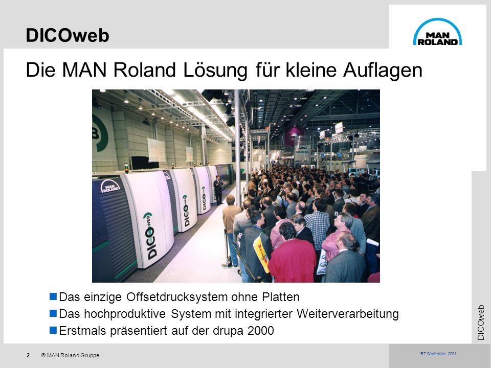 2© MAN Roland Gruppe DICOweb RT September 2001 Die MAN Roland Lösung für kleine Auflagen DICOweb Das einzige Offsetdrucksystem ohne Platten Das hochpr