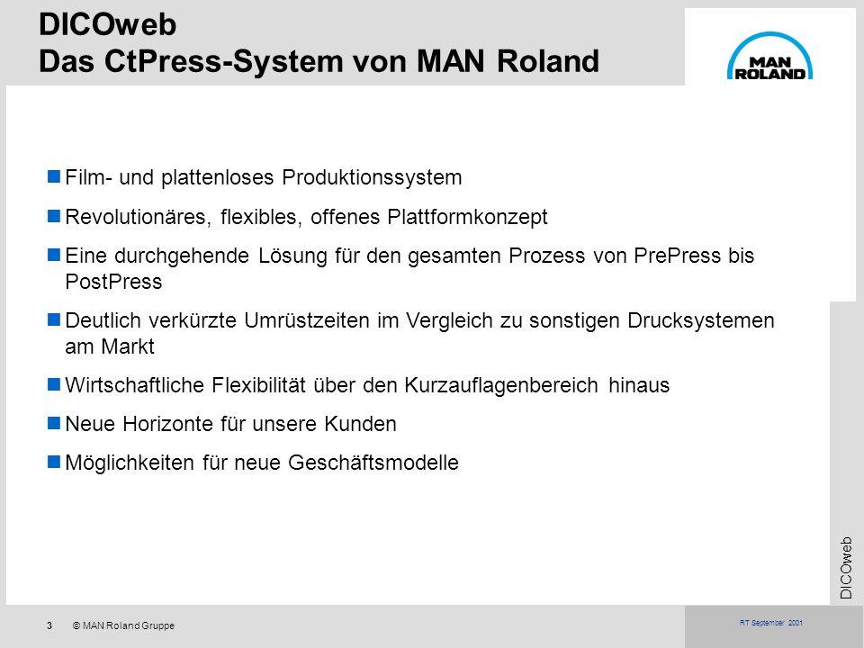 3© MAN Roland Gruppe DICOweb RT September 2001 Film- und plattenloses Produktionssystem Revolutionäres, flexibles, offenes Plattformkonzept Eine durch