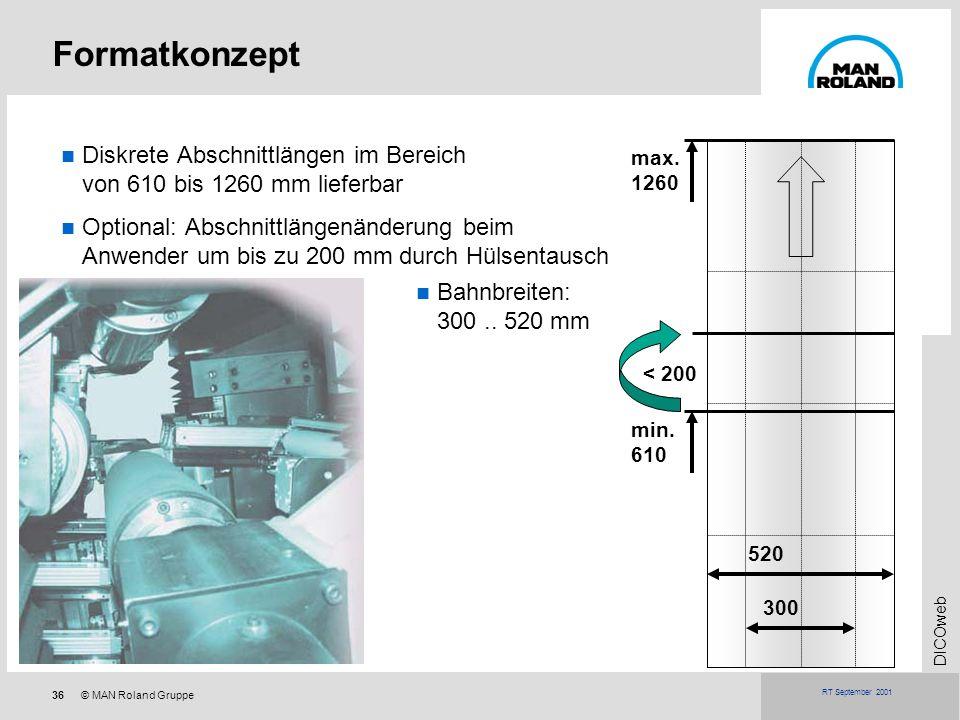 36© MAN Roland Gruppe DICOweb RT September 2001 Bahnbreiten: 300.. 520 mm Formatkonzept 300 520 max. 1260 min. 610 Diskrete Abschnittlängen im Bereich