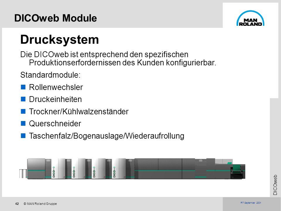 42© MAN Roland Gruppe DICOweb RT September 2001 DICOweb Module Drucksystem Die DICOweb ist entsprechend den spezifischen Produktionserfordernissen des