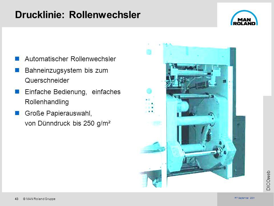 43© MAN Roland Gruppe DICOweb RT September 2001 Drucklinie: Rollenwechsler Automatischer Rollenwechsler Bahneinzugsystem bis zum Querschneider Einfach