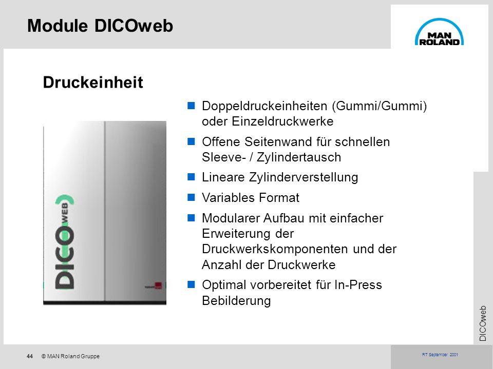 44© MAN Roland Gruppe DICOweb RT September 2001 Module DICOweb Druckeinheit Doppeldruckeinheiten (Gummi/Gummi) oder Einzeldruckwerke Offene Seitenwand