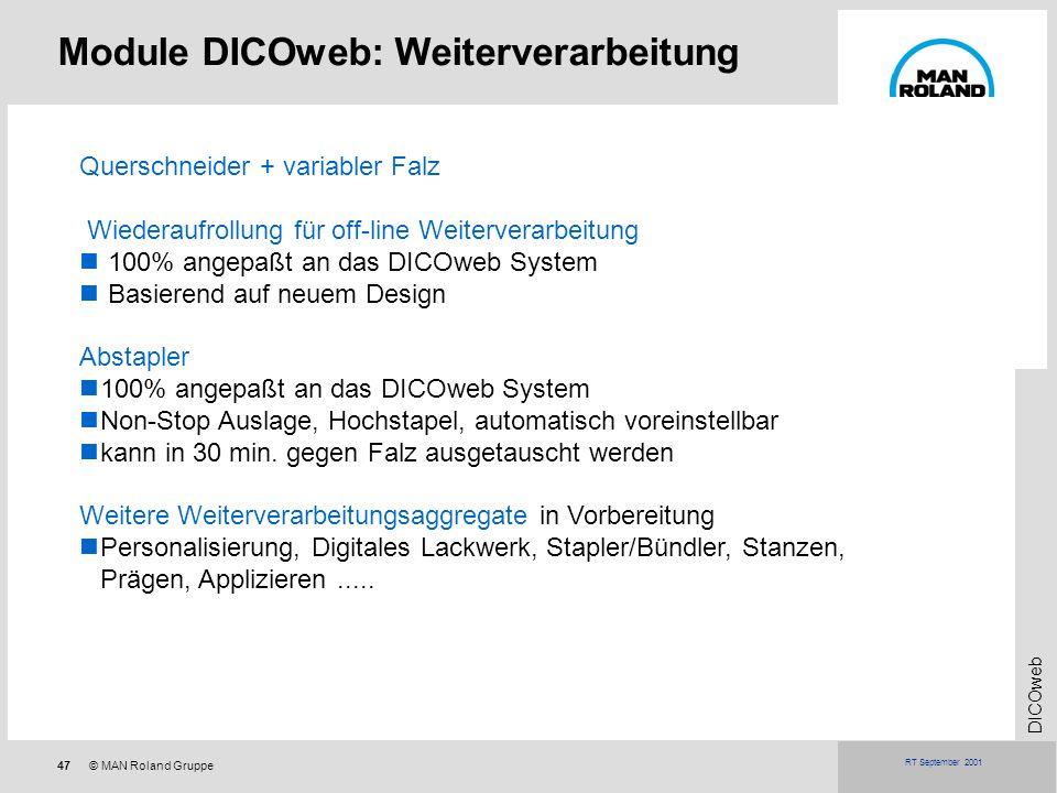47© MAN Roland Gruppe DICOweb RT September 2001 Module DICOweb: Weiterverarbeitung Querschneider + variabler Falz Wiederaufrollung für off-line Weiter