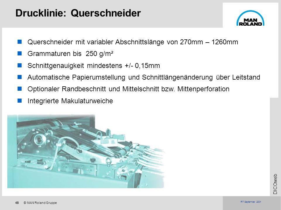 48© MAN Roland Gruppe DICOweb RT September 2001 Querschneider mit variabler Abschnittslänge von 270mm – 1260mm Grammaturen bis 250 g/m² Schnittgenauig