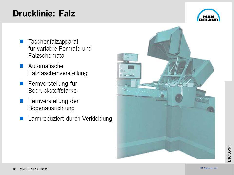 49© MAN Roland Gruppe DICOweb RT September 2001 Drucklinie: Falz Taschenfalzapparat für variable Formate und Falzschemata Automatische Falztaschenvers