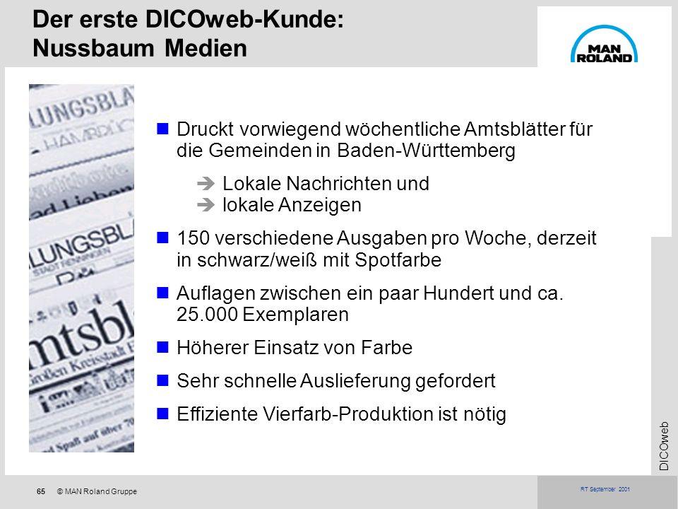 65© MAN Roland Gruppe DICOweb RT September 2001 Druckt vorwiegend wöchentliche Amtsblätter für die Gemeinden in Baden-Württemberg Lokale Nachrichten u
