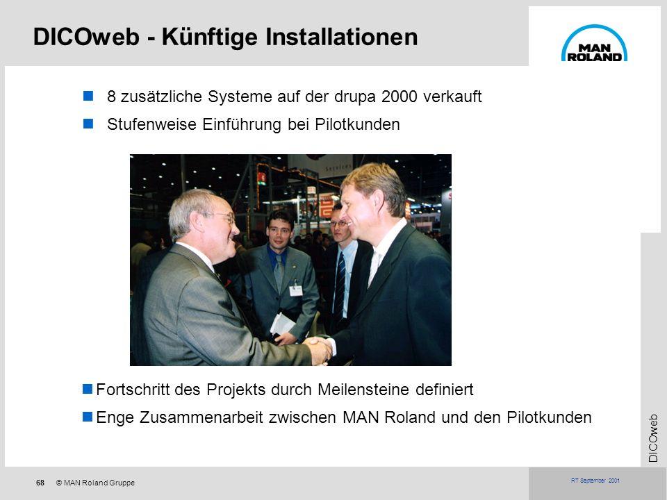 68© MAN Roland Gruppe DICOweb RT September 2001 DICOweb - Künftige Installationen 8 zusätzliche Systeme auf der drupa 2000 verkauft Stufenweise Einfüh