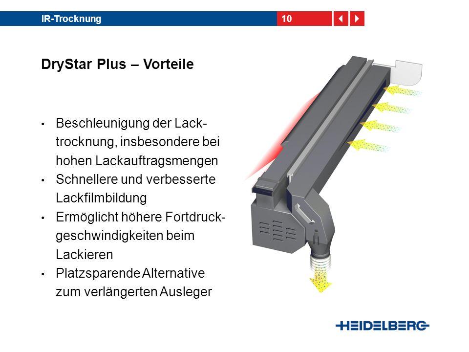 10IR-Trocknung DryStar Plus – Vorteile Beschleunigung der Lack- trocknung, insbesondere bei hohen Lackauftragsmengen Schnellere und verbesserte Lackfi