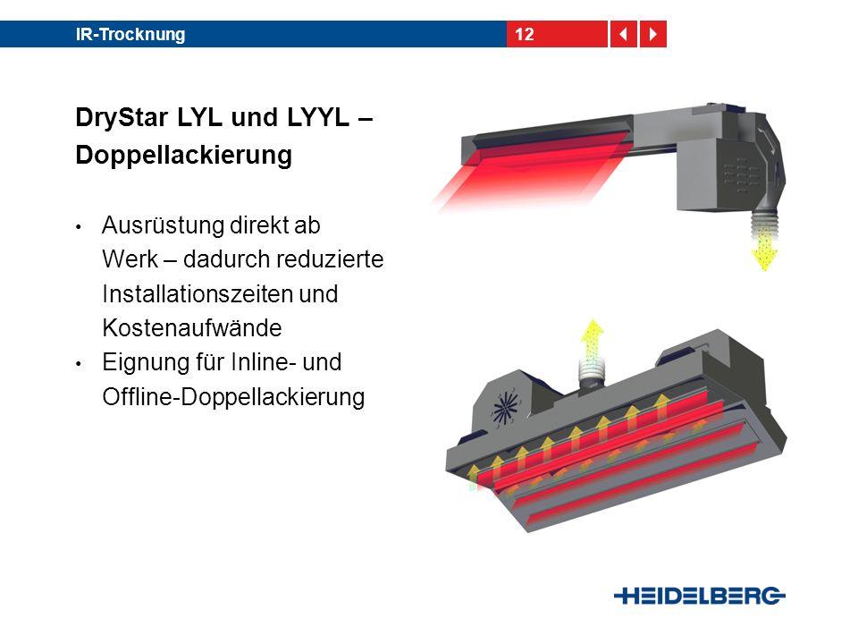 12IR-Trocknung DryStar LYL und LYYL – Doppellackierung Ausrüstung direkt ab Werk – dadurch reduzierte Installationszeiten und Kostenaufwände Eignung f