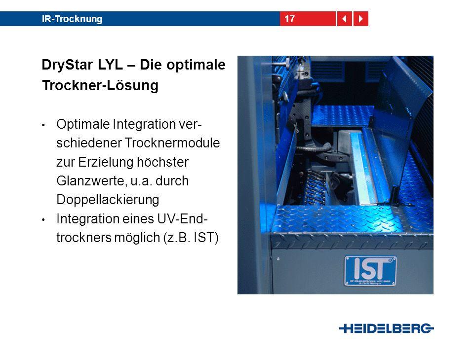 17IR-Trocknung DryStar LYL – Die optimale Trockner-Lösung Optimale Integration ver- schiedener Trocknermodule zur Erzielung höchster Glanzwerte, u.a.