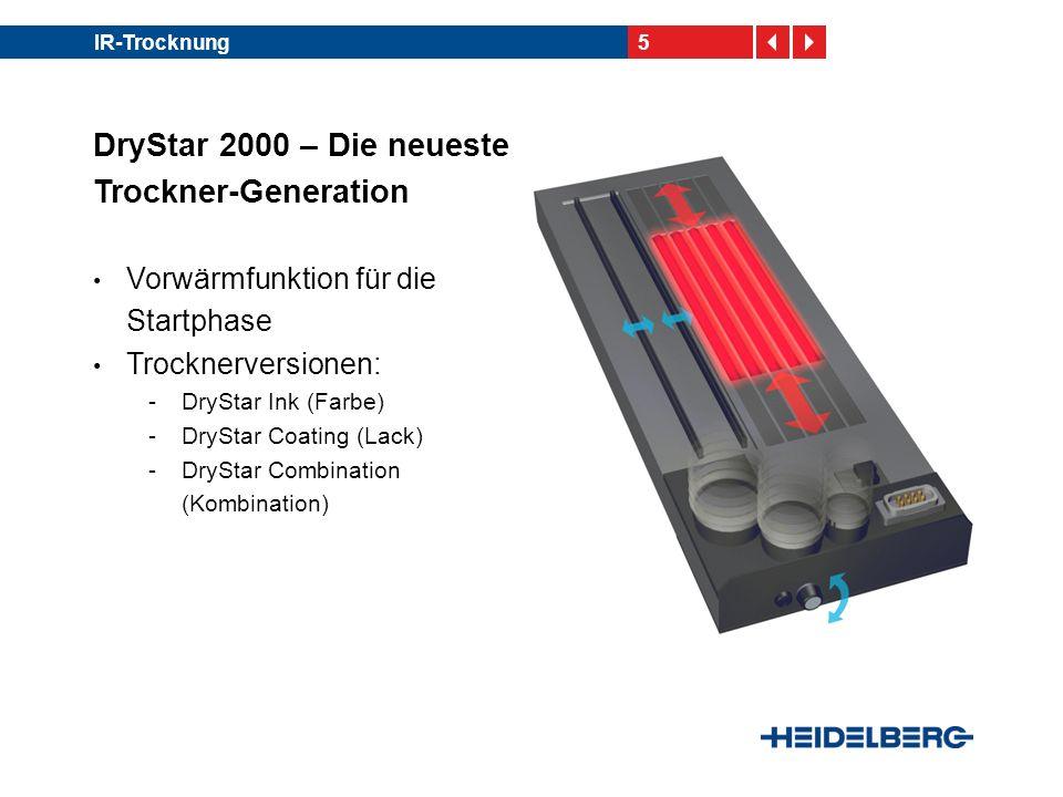 5IR-Trocknung DryStar 2000 – Die neueste Trockner-Generation Vorwärmfunktion für die Startphase Trocknerversionen: -DryStar Ink (Farbe) -DryStar Coati