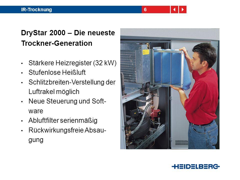 6IR-Trocknung DryStar 2000 – Die neueste Trockner-Generation Stärkere Heizregister (32 kW) Stufenlose Heißluft Schlitzbreiten-Verstellung der Luftrake